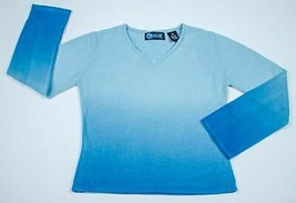 MEOW GIRLS SIZE SMALL 7 SHADES OF BLUE OMBRE LIGHTWEIGHT SWEATER TOP ACR... - $9.89