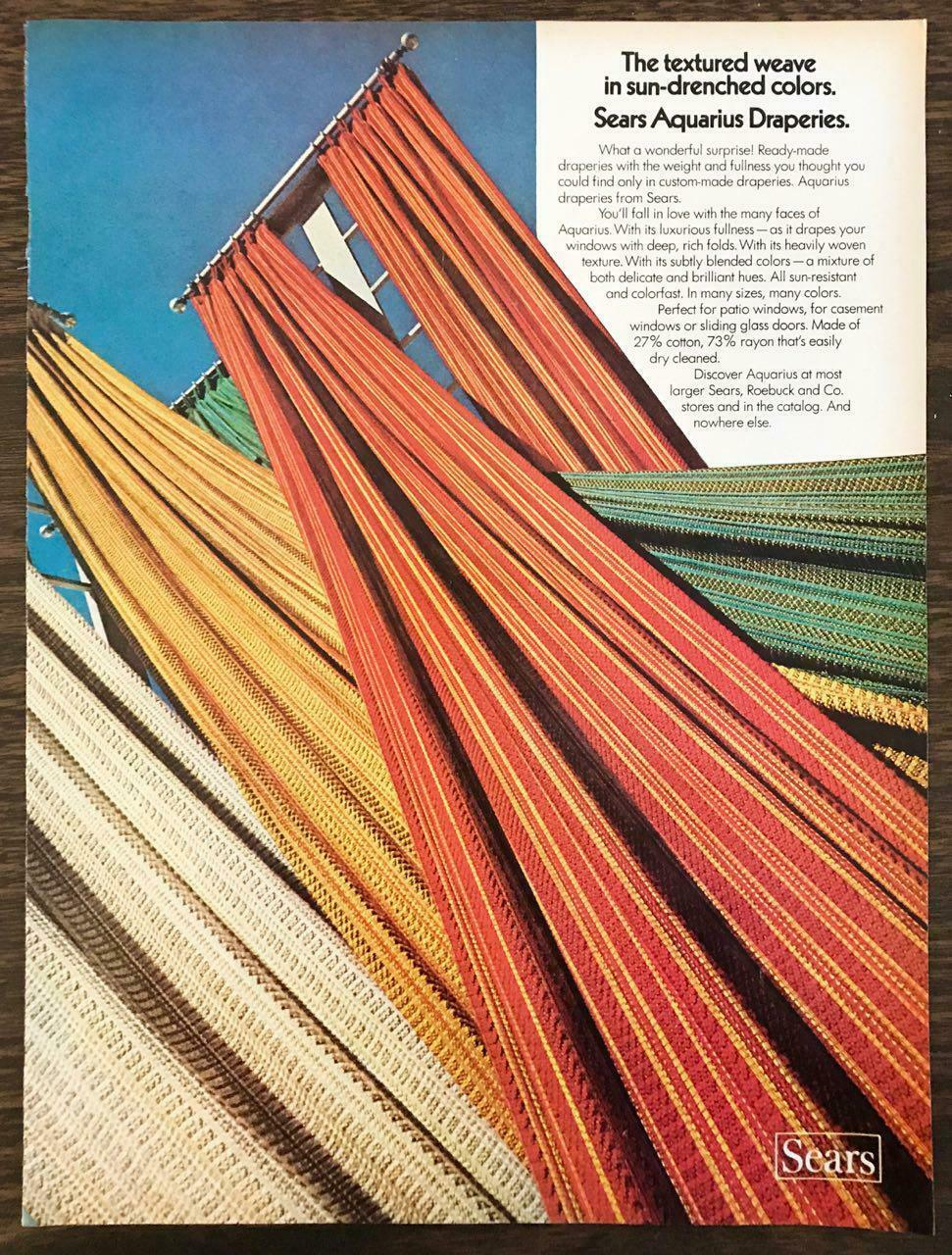 Primary image for 1972 Sears Roebuck Print Ad Aquarius Draperies Textured Weave SunDrenched Colors
