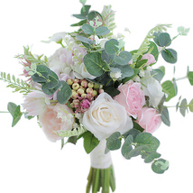 Roses & Eucalyptus Garden bridal bouquet wedding simulation flower bouquet - $52.00