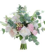 Roses & Eucalyptus Garden bridal bouquet wedding simulation flower bouquet - $52.00