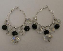 DaVinci Women's Hoop Earrings Fashion Silver Tones Black Clear Beads Leverback - $9.97