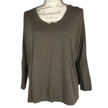BCBG MAXAZRIA XS Top Blouse Olive Fitted Dolman Sl High Low Stretch Slit... - $12.59