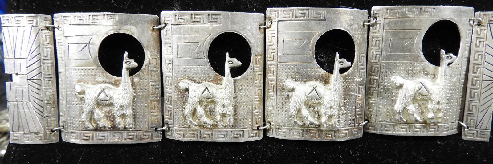 Antique Art Deco  Sterling Peru Llamas Linked Cuff Bracelet