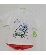 Snopea Two Piece Boys Short Set Race Cars Red Shorts White Shirt Size 12... - $29.00