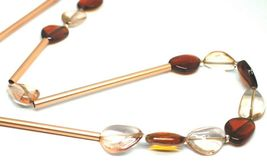 """ROSE NECKLACE AMBER PINK ROUNDED DROPS OF MURANO GLASS TUBE ALTERNATE 40"""" LONG image 3"""