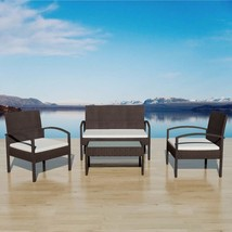 vidaXL Garden Sofa Set 7 Pieces Wicker Poly Rattan Brown Chair Furniture... - $179.99