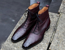 Handmade Men's Burgundy Leather High Ankle Lace Up Brogues Boots image 1