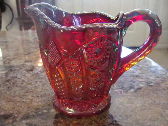 RED Carnival Glass Oversized Cream And Sugar Set