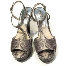 Michael Kors 8.5 Platform Sandals Snakeskin Heels T-Strap Pumps Open Toe... - $31.14