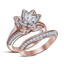 14K Rose Gold Plated Round Cut D/VVS1 Diamond Engagement Lotus Bridal Ri... - $2.422,90 MXN