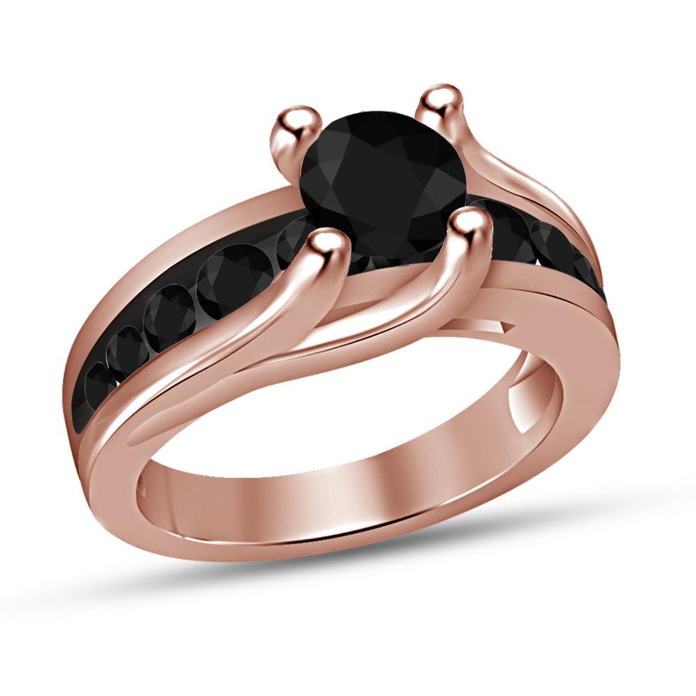 D/VVS1 Diamond Wedding Band & Engagement Bridal Ring Set 14k Rose Gold Finish