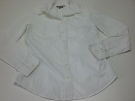 W13793 Womens OLD NAVY White Stretch Long Sleeve BUTTON UP SHIRT Dress S... - $25.09