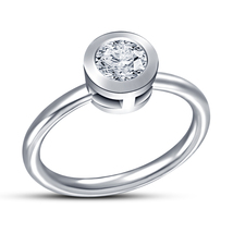 White Gold Plated 925 Sterling Silver Round Cut Simulated Diamond Solitaire Ring - $50.30