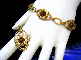 12K Gold Filled on Sterling Vintage Bracelet Pendant Set Red Glass Caboc... - $49.67
