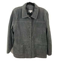 Denim & Co D & Co Suede Leather Gray Jacket Women's Sz XL  Decorative St... - $27.23