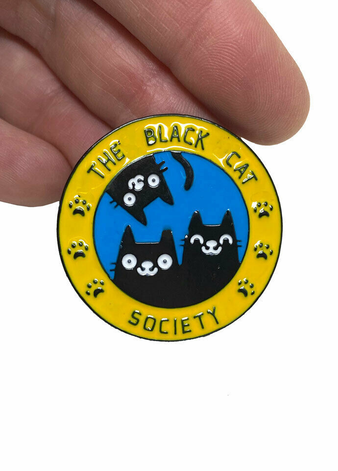 "Primary image for 1.25"" Drop Enameled Brooch Lapel Pin ""The Black Cat Society"", Cat Lovers Gift"