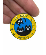 "1.25"" Drop Enameled Brooch Lapel Pin ""The Black Cat Society"", Cat Lovers... - $13.30"