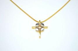 Crown Trifari Dual Silver Gold Tone Crucifix Cross Snake Chain Necklace ... - $49.49