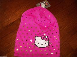 Hello Kitty Pink Knit Hat W/Gold Stars NEW - $16.72