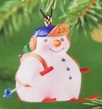Hallmark 2001 Holiday Flurries #3 NIB Snowman Skiing Skier Miniature Ornament - $6.95
