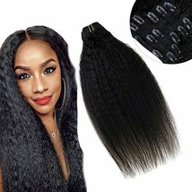 Human Hair Clip in Extensions Kinky Straight Thick Ends Vivien 100% Remy Real Ha