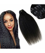 Human Hair Clip in Extensions Kinky Straight Thick Ends Vivien 100% Remy... - $81.19
