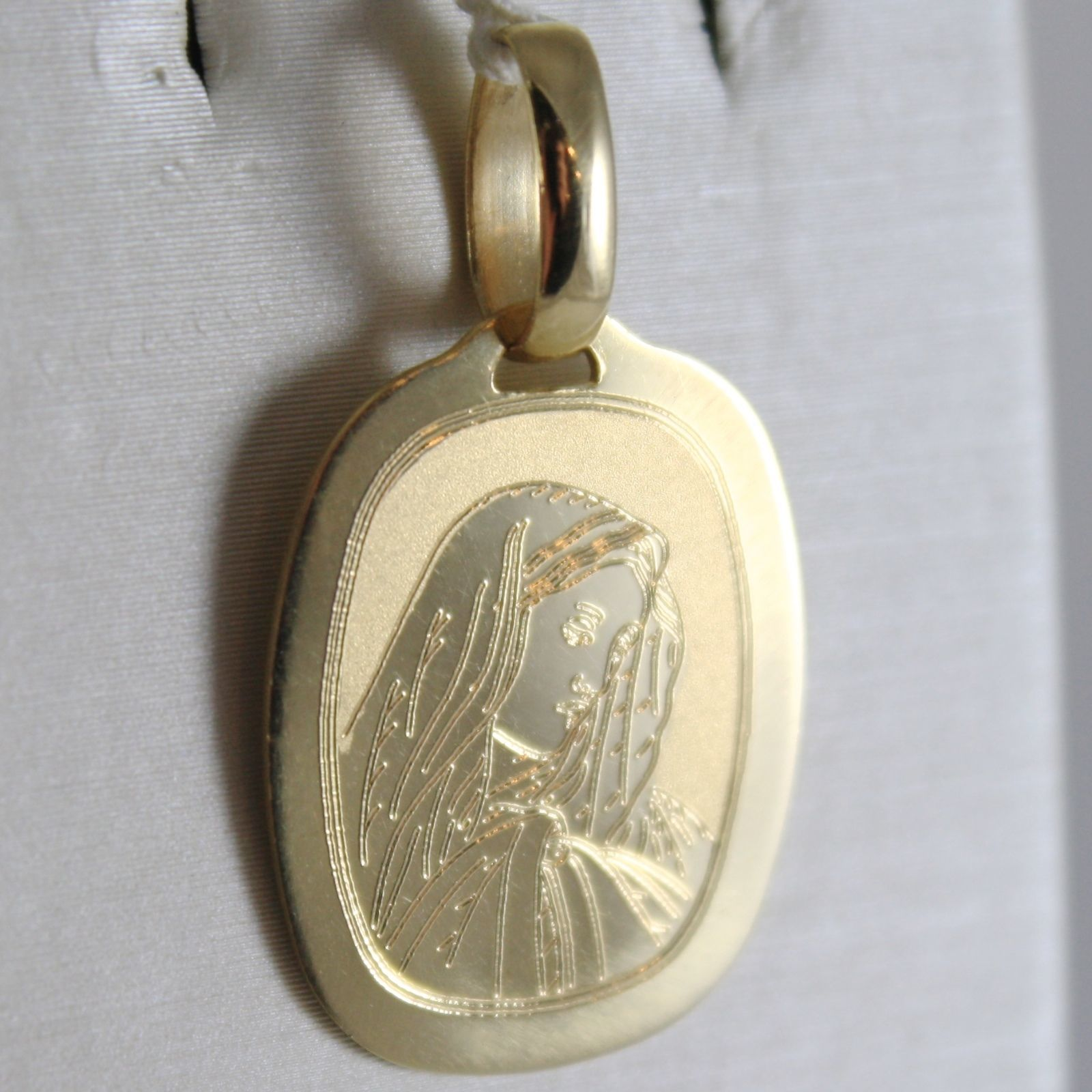 PENDENTIF MÉDAILLE OR JAUNE 750 18K, MADONE, MARIE, ENGRAVABLE,, MADE IN ITALY