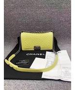 AUTHENTIC CHANEL BRIGHT YELLOW CHEVRON QUIILTED MEDIUM BOY FLAP BAG SHW - $3,688.00