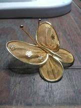 Mesh Butterfly Gold Tone Metal Dual Pendant Brooch Vintage  - $6.55