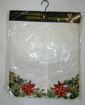 Embroidered 54 Inch Christmas Tree Skirt Ivory Red Poinsettias image 1