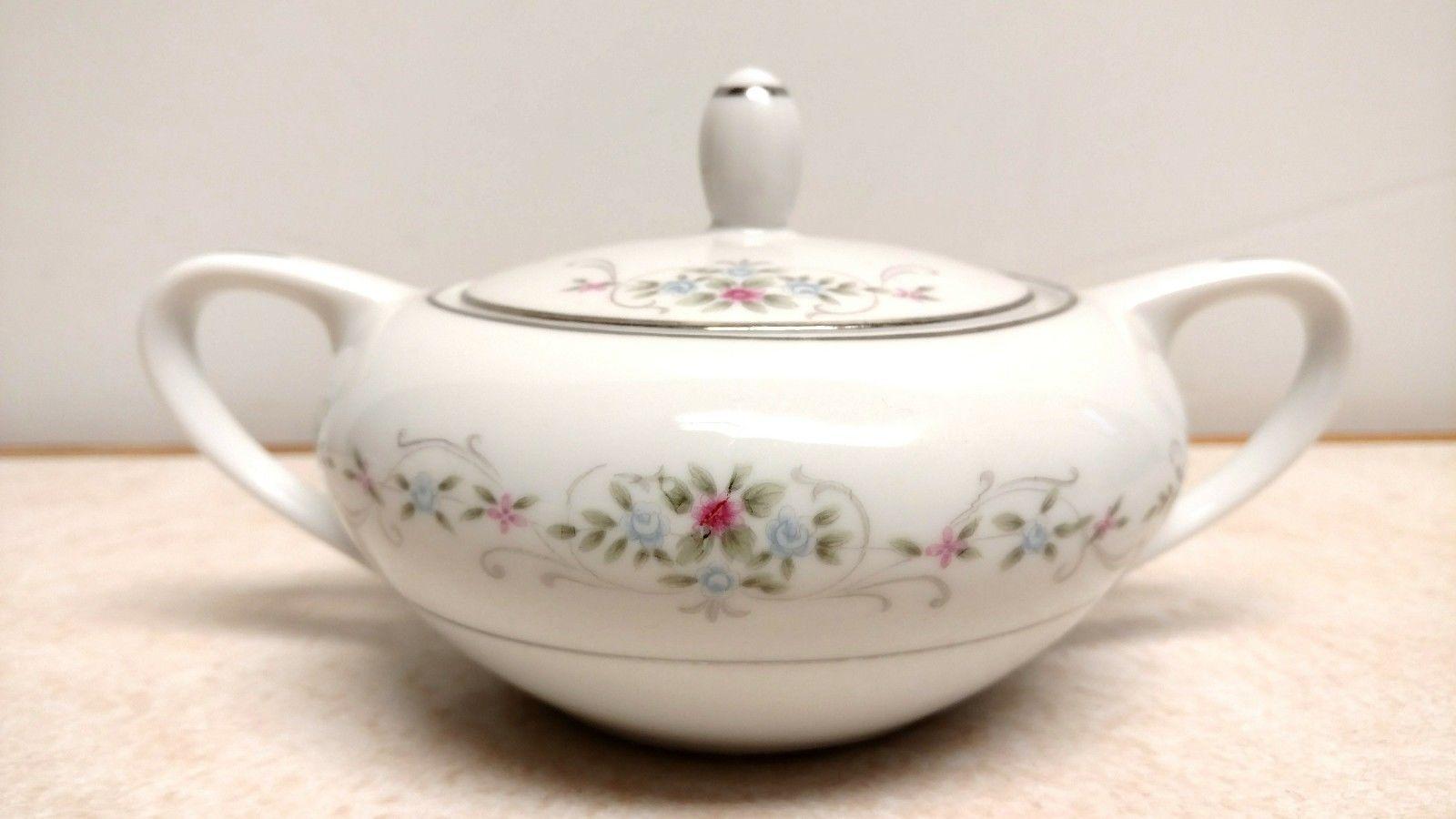Vintage MILADY China Sugar Bowl Made in Japan Pink & Blue Floral - $9.49