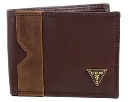 Guess Men's Leather Credit Card Wallet Passcase Billfold Brown 31GU13X049