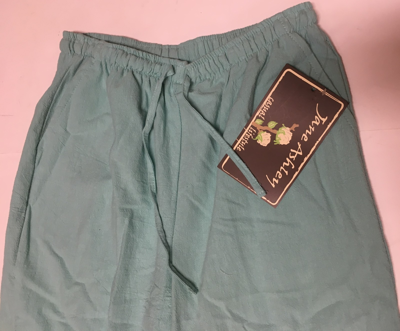 Jane Ashley Casual Lifestyle Lime Aqua Capri Pants Sz L Drawstring image 4