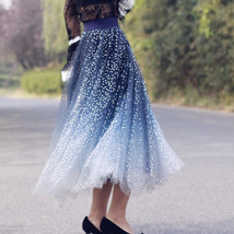 Sequined Tulle Midi Skirt Outfit Navy Gold Sparkly Midi Bridesmaid Skirt Custom image 8
