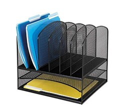 Safco Products Onyx Mesh 2 Tray/6 Sorter Desktop Organizer 3255BL, Black... - $40.69