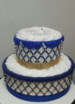 "Royal Blue and Gold "" Royal Themed "" Baby Shower 2 Tier Bling Diaper Cake - $42.75"