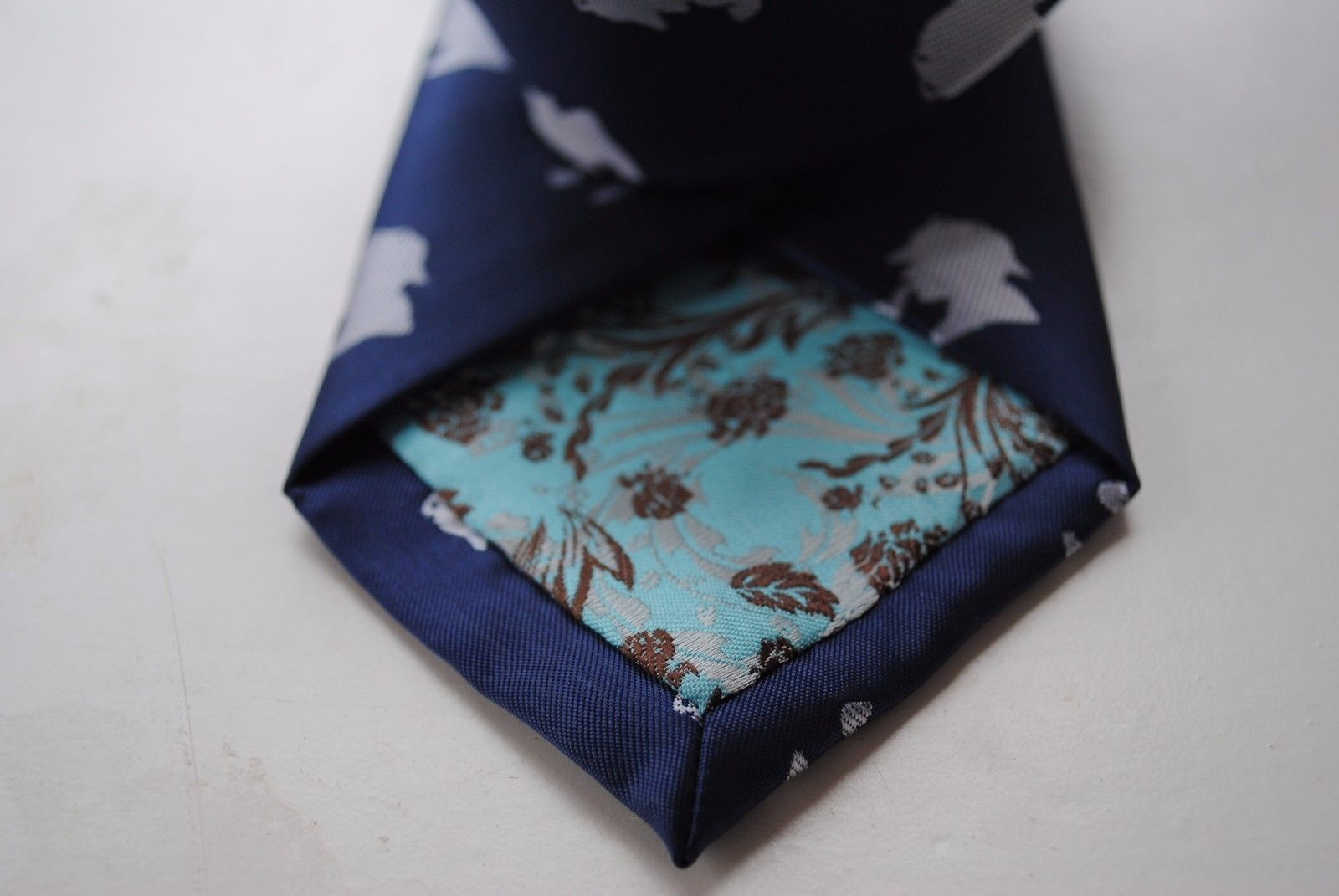 Navy Mens Tie with embroidered Sherlock Holmes Design by Frederick Thomas FT624