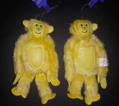 "Lot 2 Furry Fuzzy Yellow Monkey Gorilla Ornaments 6"" New NWT - $4.36"