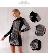 Sexy Black Long Sleeve Sequined Luxury Club Dress image 4