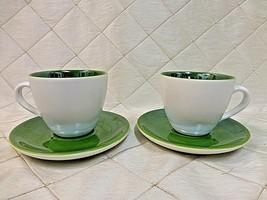 Starbucks Demitasse Coffee Cups Mugs Saucer Set Pearlescent Green 2005 Espresso - $24.00