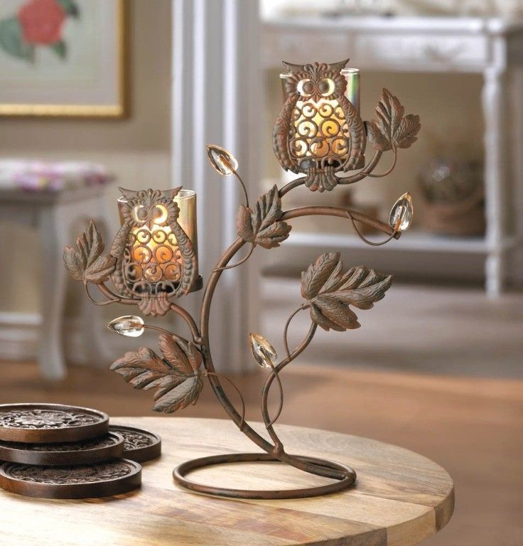Wise Owl Duo on Vine & Leaf Votive Candle Holder Stand