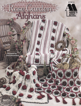 Rose Garden Afghans Crochet Decor Floral Blanket Throw Vintage Tea Time ... - $19.75