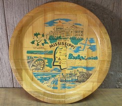 Vintage Mississippi Bamboo Dish Souvenir Serving Tray Plate Retro 13 Inches - $19.79