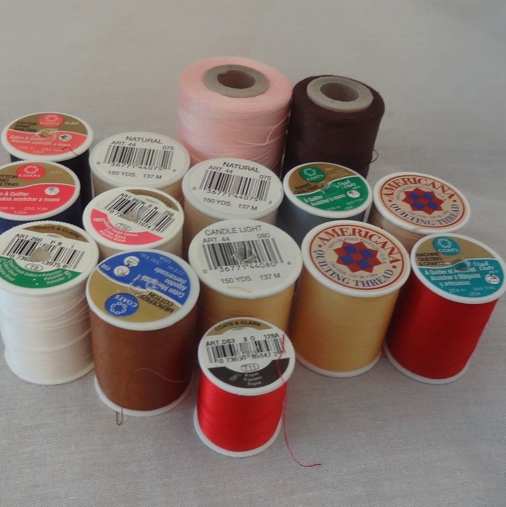 Lot 15 Spools Different Colors Sewing Thread Quilting