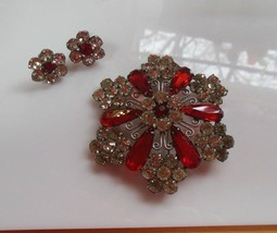 Vintage Large Ruby Red & Clear Rhinestone Floral Brooch & Screw-On Earri... - $74.25
