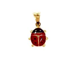 """18K YELLOW GOLD ROUNDED LADYBUG PENDANT ENAMEL 1.6cm, 0.63"""", BLACK AND RED image 1"""