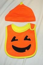 New Carters Unisex Baby Pumpkin Bib & Hat Costume First Halloween Jack o... - $9.89