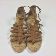 EUC SAM EDELMAN Donna tan beige leather suede Gladiator Sandals Cork Wom... - $39.99