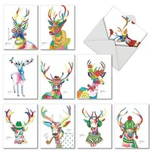 Fancy Reindeer: 10 Assorted Christmas Notecards Showing Brightly Colored... - $11.62