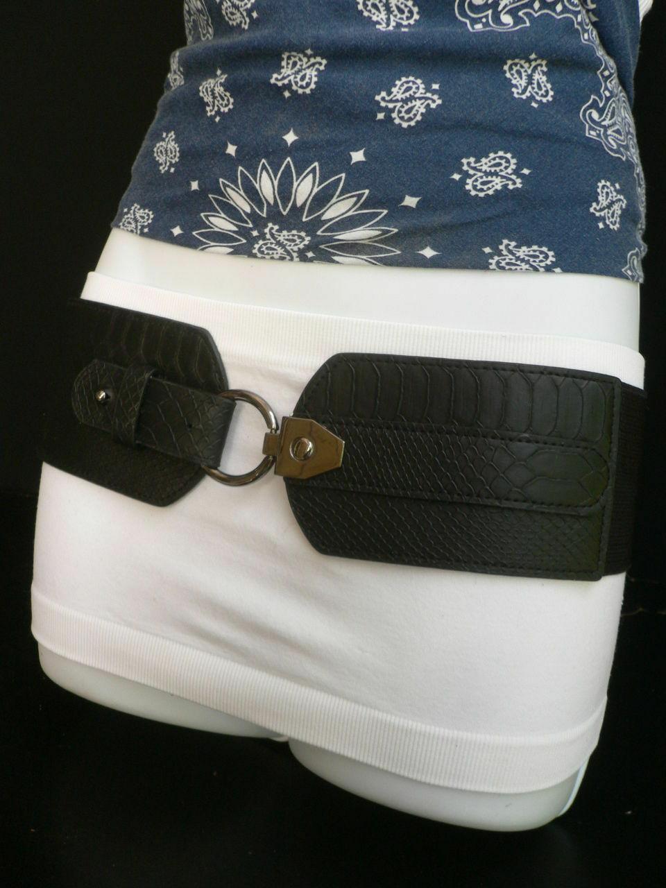 Cinturón para Dama Moda Hip Cintura Elástico Negro Ancho Imitación Piel de image 9